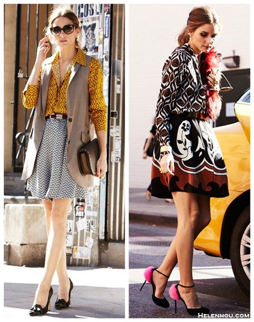 how to mix prints, how to wear patterns, party outfits idea,  Olivia Palermo, fall/winter, yellow printed blouse, black and white printed skorts/skirt, studded bag, vest blazer,  Camouflage pointy toe pump, diamond printed blouse, black and white and brown printed skirt, pink fur pump, red burgundy fur scarf/stole,  On Olivia Palerm 7 days/7 looks for vogue.es: TWO By Vince Camuto Chain-Print Utility yellow Blouse, Armani printed skorts, Carrera y Carrera jewelry, Queen Dress vest,  Christian Dior sunglasses, Whistles belt, Gianvito Rossi Camouflage-print pony hair pumps,   On Olivia Palerm 7 days/7 looks for vogue.es: Wunderkind sunglasses, Christian Louboutin Crazy pink Fur ankle strap pump, Charlotte Simone red fur stole/scarf, Carrera y Carrera gold bracelet, Tracey Reese pinted silk blouse,  Reiss gold plate belt,  Fendi purse, Tibi pirnted skirt,