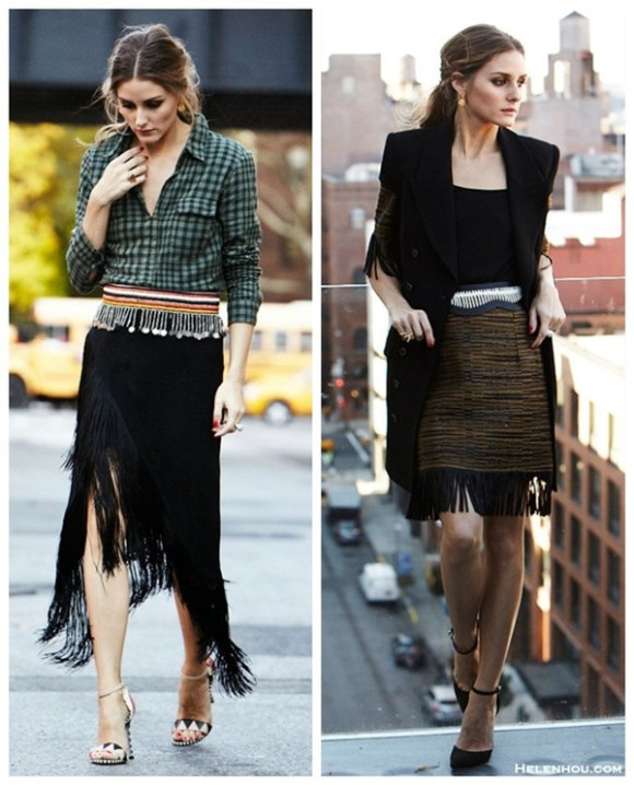how to wear Tassels and Fringes, how to wear gingham,   Olivia Palermo, street style, fall/winter, fringe skirt, gingham shirt, ankle strap shoes, embellished belt,     On Olivia Palermo: Splendid Gramercy Gingham Shirt, Sergio Rossi OBEROJ heel, Carrera y Carrera jewelry, From Kenya belt,   On Olivia Palermo:Willow leather trim tassel top, willow leather trim tassel pencil skirt, BCBG belt, Schutz 'Irma' Ankle Strap Pointy Toe Pump,Wunderkind sunglasses, Rachel Zoe black vest, 	Carrera y Carrera jewelry
