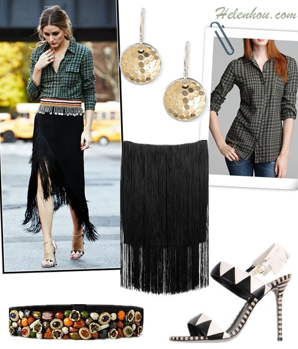how to wear Tassels and Fringes, how to wear gingham,   Olivia Palermo, street style, fall/winter, fringe skirt, gingham shirt, ankle strap shoes, embellished belt,     On Olivia Palermo: Splendid Gramercy Gingham Shirt, Sergio Rossi OBEROJ heel, Carrera y Carrera jewelry, From Kenya belt,   Featured: SplendidSPLENDID TOP - GRAMERCY GINGHAM BUTTON DOWN, Rag & BoneCORINA FRINGE SKIRT, SERGIO ROSSI High-heeled sandals ,  AnthropologieCONFISERIE BELT,  Anna Beck 'Bali' Gold Plated Dish Earrings