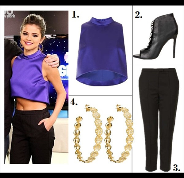 The art of accessorizing-helenhou.com-Selena Gomez, party outfit idea,Z100 jingle ball,blue crop top, topshop, black pants, cut out booties