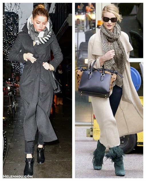 The Art of Accessorising-Helenhou.com-Amber Heard, Rosie Huntington-Whiteley, street style, long coat, burberry crush, leopard scarf, fringe booties, Stella McCartney