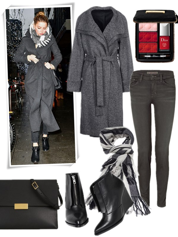 The Art of Accessorising-Helenhou.com-Amber Heard, street style, grey long coat, skinny jeans, striped scarf, Stella McCartney