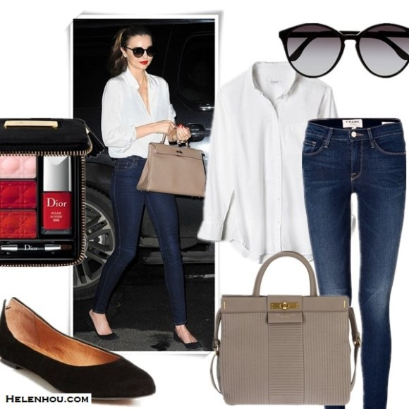 Wardrobe essentials; how to wear leather jacket, Miranda Kerr & Rosie Huntington-Whiteley, street style, fall/winter, model off duty look,   On Miranda Kerr: white shirt, frame denim skinny jeans, black ballet flat, hermes bag, stella mccartney oversized sunglasses,   Featured: Top: Equipment Brett Shirt,  Jeans: FRAME Denim Le Skinny de Jeanne Jeans,  Bag: MARC BY MARC JACOBS calf leather tote bag,  Shoes: Halogen® Halogen 'Leesa' Flat,  Sunglasses: Stella McCartney,  Makeup: Dior 'Couture' Lip & Nail Palette,