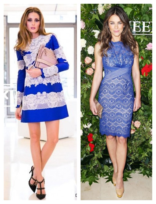 how to wear lace dresses,  	Olivia Palermo, Elizabeth Hurley, party outfit ideas, On Olivia Palermo: Valentino blue and white lace emboroied dress, valentino rockstud t strap pump, Valentino stud flap clutch,   On Elizabeth Hurley: Tadashi Shoji sheath blue lace dress, nude pump, python clutch,