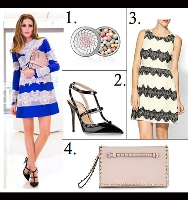 how to wear lace dresses,  Olivia Palermo, Elizabeth Hurley, party outfit ideas,  On Olivia Palermo: Valentino blue and white lace emboroied dress, valentino rockstud t strap pump, Valentino stud flap clutch,   Featured:  1. GUERLAIN Météorites Powder For The Face, 2. Valentino 'Noir Rockstud' T-Strap Pump, 3. SKIES ARE BLUE Tea Time Dress, 4. Valentino 'Rockstud' Flap Clutch