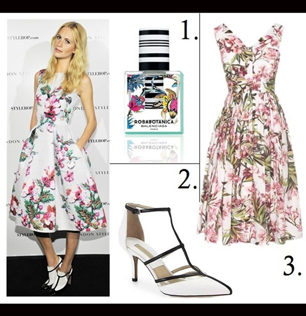 how to wear a midi dress, how to wear floral print, party outfit ideas,  	Oscar de la Renta for The Outnet collection,  	Poppy Delevingne, Miroslava Duma, floral midi dress, Mary Katrantzou,  		On Poppy Delevingne, Mary Katrantzou floral dress;  	Featured: 1. BALENCIAGA Rosabotanica 1 oz Eau de Parfum Spray,  2. Michael KorsSAHAR POINTED-TOE T-STRAP SANDAL - MICHAEL KORS,  3. Dolce & Gabbana FLORAL-PRINT COTTON DRESS,