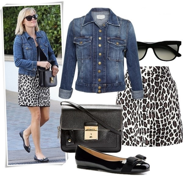 how to wear a leopard skirt, winter white,  Fearne Cotton, Reese Witherspoon, fall/winter, street style, denim jacket, leopard skirt, ankle boots, white sweater, celine bag, sunglasses,  Reese Witherspoon wearing: Celine bag, MSGM leopard skirt, Current/Elliott Snap Jacket,  Givenchy ballet flat. 		  Featured: Jacket: Current/Elliott THE SNAP JACKET, Sunglasses: Ray-Ban Oversized Flat-Top Wayfarer Sunglasses, Skirt: MSGM Leopard-print A-line skirt, Bag: MARC JACOBS '1984' Leather Camera Bag, Shoes: Salvatore Ferragamo Varina Classic Bow Flats,