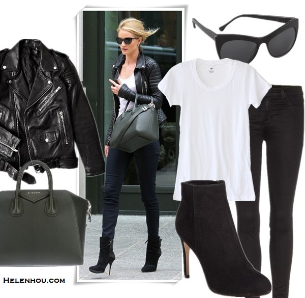 Wardrobe essentials; how to wear leather jacket, Miranda Kerr & Rosie Huntington-Whiteley, street style, fall/winter, model off duty look,   On Rosie Huntington-Whiteley: black quilted leather jacket, black skinny jeans, ankle boots, givenchy antigona bag, white top, sunglasses,   Featured: Jacket: BLK DNM Motorcycle Jacket With Quilted Stripes,  Top: LNACREW NECK TEE,  Jeans: J Brand 915 Super Skinny Legging Jeans,  Shoes: Via Spiga 'Bakel' Bootie,  Bag: Givenchy 'Antigona',  Sunglasses: Elizabeth and James Lafayette Cat Eye Sunglasses