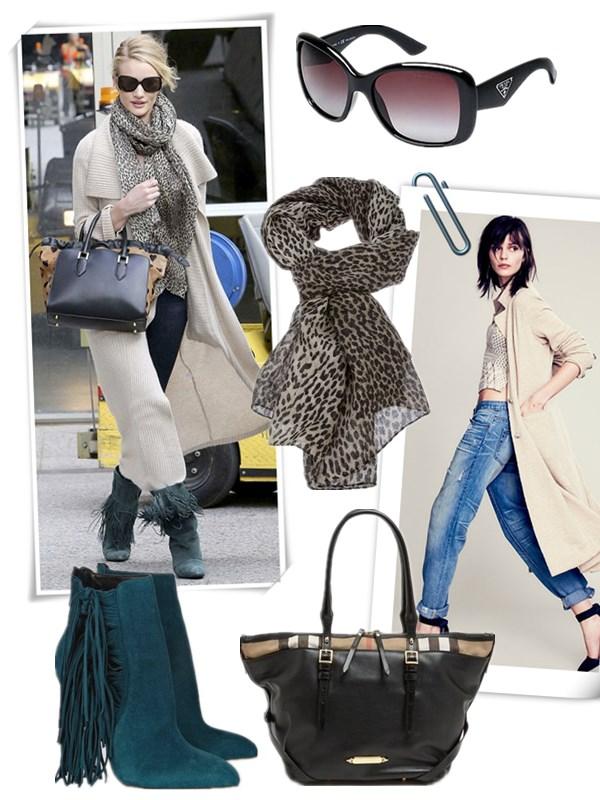 The Art of Accessorising-Helenhou.com-Rosie Huntington-Whiteley, street style,sweater coat, burberry crush, leopard scarf,fringe booties