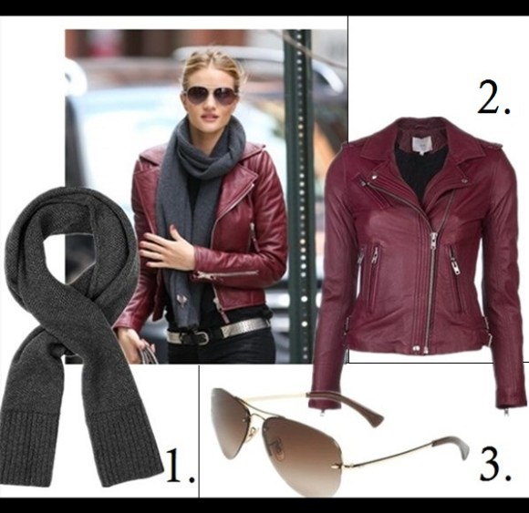 how to wear a leather jacket, how to wear the oversized coat, winter outfit ideas,   street style, models off duty look, fall/winter,  Miranda Kerr, Rosie Huntington-Whiteley, street style, Lauren Bigelow;   On Rosie Huntington-Whiteley: bordeaux Balenciaga leather jacket, black scarf, burberry aviator sunglasses, skinny jeans,   Featured:   1. rag & boneGEMMA SCARF - CHARCOAL (100% cashmere),  2. IRO 'Han' leather jacket ,  3. Ray-Ban 59mm Semi Rimless Aviator Sunglasses
