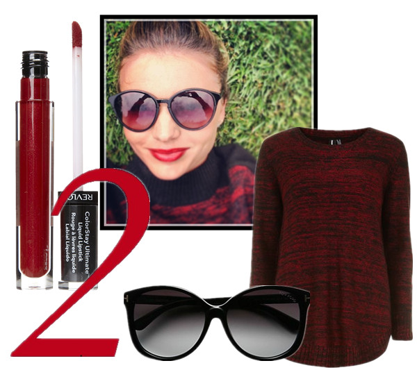 celebrity instagram, sunglass trend, vacation looks,  Alessandra Ambrosio, Miranda Kerr, Cheryl Cole, Rosie Huntington-Whiteley, Demi Lovato.  On Miranda Kerr: Alexander Wang Marled Colorblock Mock Neck Sweater,Stella McCartney Retro Sunglasses,  Featured:  Revlon ColorStay Ultimate Liquid Lipstick, Tom Ford Eyewear Alicia Oversized Round Acetate Sunglasses, Dorothy PerkinsMULTI RED CURVE HEM JUMPER,