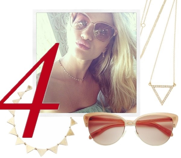 celebrity instagram, sunglass trend, vacation looks,  Alessandra Ambrosio, Miranda Kerr, Cheryl Cole, Rosie Huntington-Whiteley, Demi Lovato.  On Rosie Huntington-Whiteley: Oliver Peoples Alisha Oversized Cat's-Eye Sunglasses, Anita Ko jewelry, Triangle Necklace,  Featured:  House of Harlow 1960 Crosshatched Triangle Collar Necklace Gold, 18-karat gold diamond triangle necklaceby: Halleh, Oliver Peoples Alisha Oversized Cat's-Eye Sunglasses/Peach,