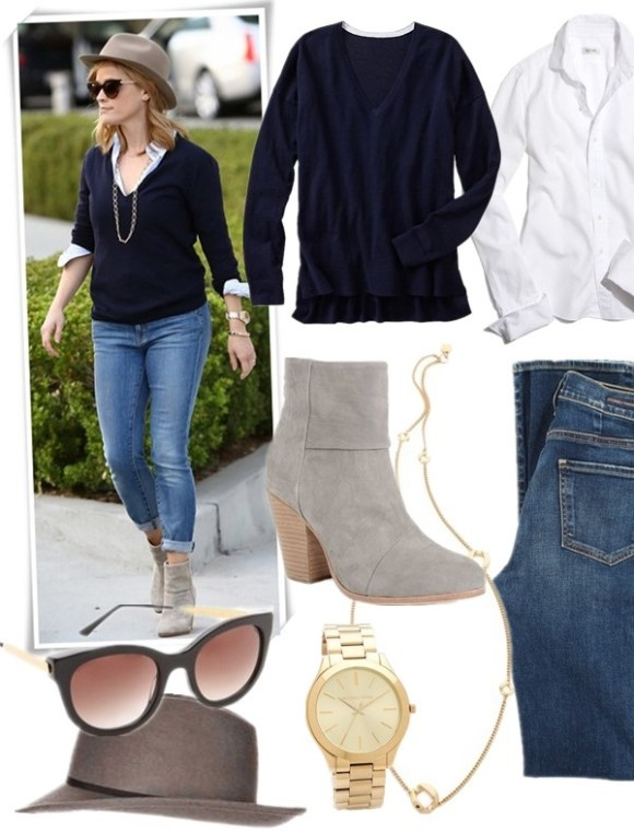 On Reese Witherspoon (left): THIERRY LASRY lively sunglasses, Rag & Bone Newbury Classic Suede Bootie,Irene Neuwirth link chain necklace.  Featured:  Sweater: gap Luxlight V-neck sweater,  Shirt: THOMAS MASON® FOR J.CREW LUDLOW BIB TUXEDO SHIRT,  Jeans: Citizens of Humanity Arley High Waist Straight Leg,  Boots: Rag & Bone Newbury Classic Suede Bootie, Necklace: Marc by Marc Jacobs Long Link Necklace,  Watch: Michael KorsSLIM RUNWAY WATCH,  Sunglasses: Thierry Lasry Lively Sunglasses, (similar here)  Hat: topshop ASYMMETRIC BRIM FEDORA HAT,