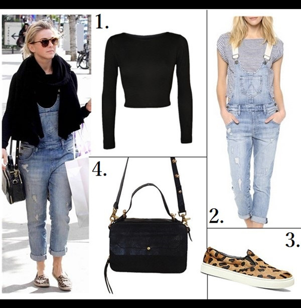 Casual weekend outfit ideas  Julianne Hough, street style, denim overall, leopard slippers, Cynthia Vincent bag, Helmut Lang white pants,   On Julianne Hough:Cynthia Vincent Liela Crossbody Bag, Wildfox Chloe Overalls, Quay Eyewear Asha Sunglasses,Helmut Lang Asymmetric Pleat-Front Pants.  On Julianne Hough: Wildfox Chloe denim Overalls, Cynthia Vincent YNTHIA VINCENTLIELA CROSSBODY bag, loepard slip ons, black scarf, Quay Eyewear Asha Sunglasses.