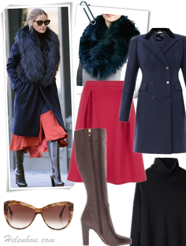 how to wear fur,  Olivia Palermo, street style, fall/winter, Party Outfits, Formal Wear, Casual Attire, fur collar coat, fur pump, crop pants, orange flared skirt, knee high boots,   On Olivia Palermo:REISS London Paprika Fit and Flare Skirt, Christian Louboutin Mirabelle Boots,Agnona Fur Collar Navy Coat,HELMUT LANG Cash Fly Knit Turtleneck in Black,   Featured:    Collar: GorskiLAYERED FOX FUR COWL COLLAR, DEEP BLUE (on sale, also here; faux fur option here)  Coat: ALEXANDER MCQUEEN Velvet-collar wool coat (50% off; anther great style here)  Sweater: HELMUT LANG Cash Fly Knit Turtleneck in Black (similar here)  Skirt: Dorothy Perkins pink Pleated Midi SkirtPleated Midi Skirt  Shoe: Via Spiga Ailey  Sunglasses: Elizabeth & James 'Crescent' 57mm Sunglasses