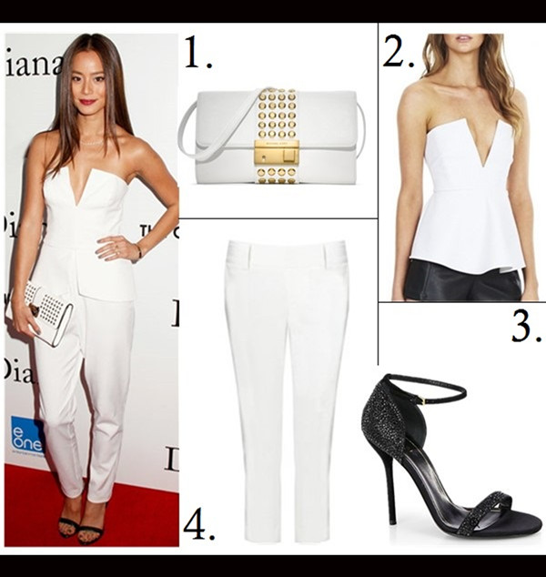 How to wear head to toe white; How to Wear Menswear; party outfit idea 2014,    Selita Ebanks, Jamie Chung, white Tuxedo Dress, white pump, white pants, metallic clutch, peplum top, On Jamie Chung: white strapless plunging top, tapered pants, Rebecca Minkoff coco studded falp clutch, black strappy heels, gold bracelet and Marti Zoe midi rings.  Featured:  1. Michael Kors Gia Studded Leather Clutch,  2. NOOKIE Oracle Peplum Top,  3. Gucci 'Noah' Crystal Sandal,  4. alice + olivia Stacey Slim Pants,