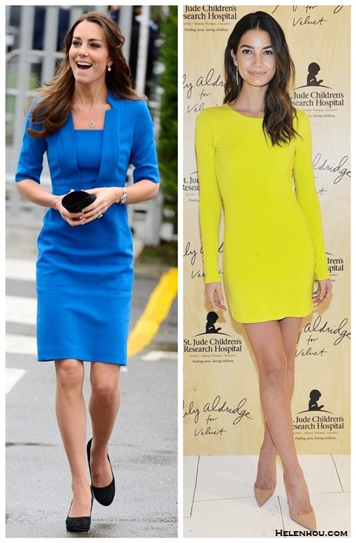 how to wear bright colors  Kate Middleton, Lily Aldridge, spring/summer, Party Outfits, Formal Wear, dresses, pumps,     Catherine, Duchess of Cambridge Kate Middleton at  ICAP Art Room at Northolt High School on February 14: an LK Bennett blue suit, Cartier watch, and Kiki McDonough earrings.  On Lily Aldridge: Velvet Beki dress with Jennifer Meyer jewelry and Melinda Maria earrings.