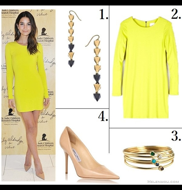 how to wear bright colors  Kate Middleton, Lily Aldridge, spring/summer, Party Outfits, Formal Wear, dresses, pumps,   On Lily Aldridge: Velvet Beki dress with Jennifer Meyer jewelry and Melinda Maria earrings.   Featured:  1. Melinda Maria Gold And Gunmetal Pyramid Cluster Earrings  2. Lily Aldridge For Velvet by Graham & Spencer Dress BEKI ZIP BACK DRESS   3. Jennifer Meyer Jewelry 18k Gold Thin Diamond Ring  4. Jimmy Choo 'Abel' pump (great alternative here)