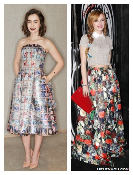 how to wear florals;   Lily Collin, Bella Thorne, Party Outfits,Formal Wear, Night Out, florals, crop top, maxi skirt,    On Lily Collin: Mary Katrantzou Foli rose-print strapless dress, Smythson purse, Jimmy Choo Abel patent nude pump, Jack Vartanian bracelet, Soffer Ari ring;  On Bella Thorne: alice + olivia Top with Collar, alice + olivia floral Maxi Skirt, alice + olivia Strawberry Clutch.