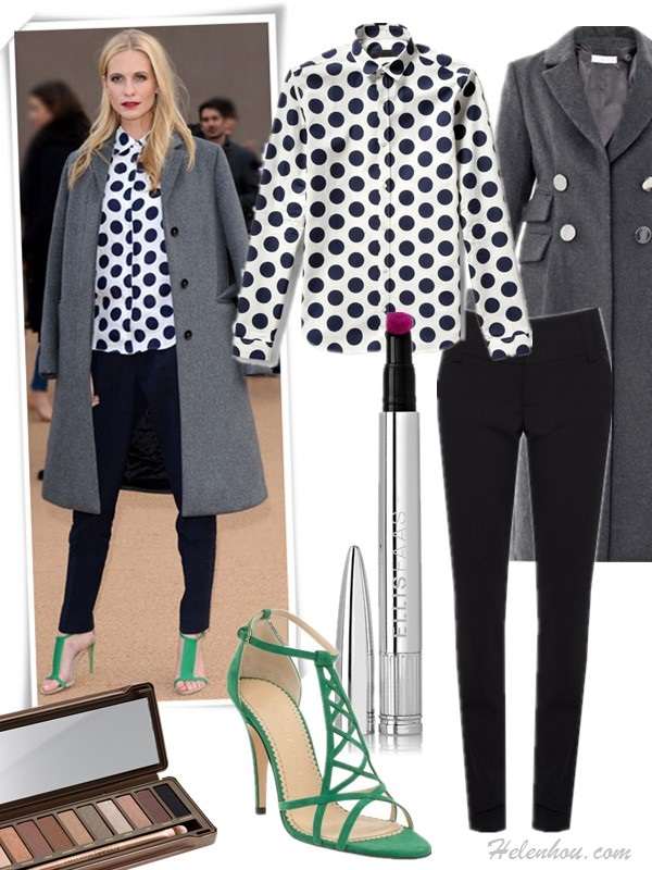 How to wear the oversized coat trend,   On Poppy Delevingne at london fashion week (left): Burberry Prorsum Polka Dot Linen Blouse, grey coat, navy pants, green strap sandal,   Featured:  Clockwise from top left:  Blouse: Burberry Prorsum Polka Dot Linen Blouse (great alternative here & here)  Coat: ALTUZARRA Lara double-breasted wool coat (70% off! another great style here)  Pants: Alice + Olivia Olivia Slim Leg Pants with Wide Waistband  Lips: Ellis Faas Creamy Lips L104 Deep Fuchsia  Shoe: Charlotte Olympia Marianne cutout suede sandals (also on sale here)  Eyes: URBAN DECAY Naked2