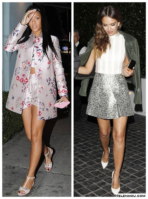 how to wear crop tops; how to wear floral print, how to wear metallics/sequins,  Rihanna, Jessica Alba, party outfits, street style, spring/summer,Girls Night Out outfit ideas, Date Night outfit ideas  On Rihanna: Stella McCartney Floral-Jacquard Coat, Stella McCartney Floral-Jacquard Shorts, Miu Miu Crystal-embellished patent-leather sandals,    On Jessica Alba:  Kara Ross ring, Tory Burch cropped sleeveless top, Tory Burch metallic skirt, Tory Burch Frete box Clutch,