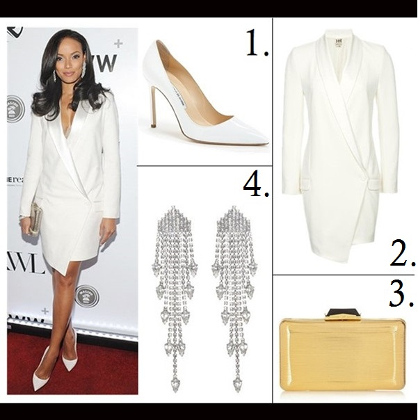How to wear head to toe white; How to Wear Menswear; party outfit idea 2014,    Selita Ebanks, Jamie Chung, white Tuxedo Dress, white pump, white pants, metallic clutch, peplum top, On Selita Ebanks at KWL's 4th Annual Sports and Entertainment Celebration: Haute Hippie Sexy Tuxedo Dress,   Featured:  1. Manolo Blahnik  'BB' pointy toe pump ,  2. Haute Hippie Sexy Tuxedo Dress,  3. Elizabeth Cole Jewelry dangling crystal pear earrings,  4. Kotur Espey embossed metallic box clutch,