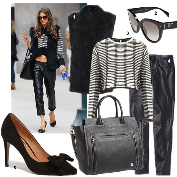 How to wear leather pants,     Alessandra Ambrosio, street style, spring/summer, Models off Duty,Casual Attire,   On Alessandra Ambrosio: cropped sweater, black fur vest, Isabel Marant leather pants, Celine bag, Isabel Marant bow pump.   featured: 1. Marc by Marc Jacobs Dukie Fur Vest (similar here) 2. Prada 54mm Cat Eye Sunglasses 3. Topshop KNITTED FILAMENT CROP JUMPER 4. Blank Denim Slouchy Vegan Leather Trousers (on Alessandra Ambrosio here) 5. kate spade new york 'claremont drive - marcella' shoulder tote 6. Halogen 'Marla' Suede Bow Pointy Toe Pump