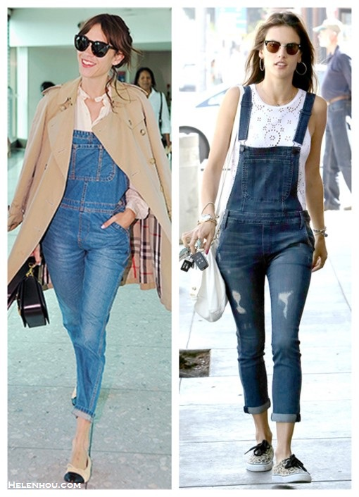 How to Wear denim overalls Now and Later,   On Alexa Chung on London's Heathrow Airport: cap-toe ballet flat,  denim overalls, white long-sleeved blouse, tan trench coat ,Round oversize sunglasses, black structured bag, On Alessandra Ambrosio: One by Black Orchid Denim Overalls Ale by Alessandra Daisy Chain Tank Givenchy Small Pandora Bag Vans Authentic Sneakers, Ray-Ban Foldable Clubmaster Sunglasses