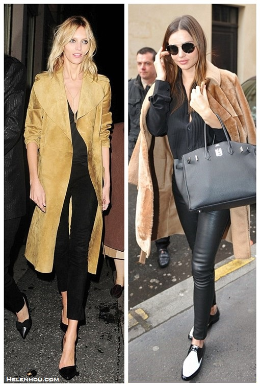 How to wear a camel coat,     On Anja Rubik at Vogue and Vanity Fair dinner organized by Jonathan Newhouse: celine brown suede coat from Céline Cruise 2014 collection, black pants, black pump, gold necklace, Repossi Berbère Pavé ring.   On Miranda Kerr: Helmut Lang leather pants, Prada aviator sunglasses, Equipment Hunter washed-silk tuxedo shirt, Hermes Birkin bag, Saint Laurent two tone flats;