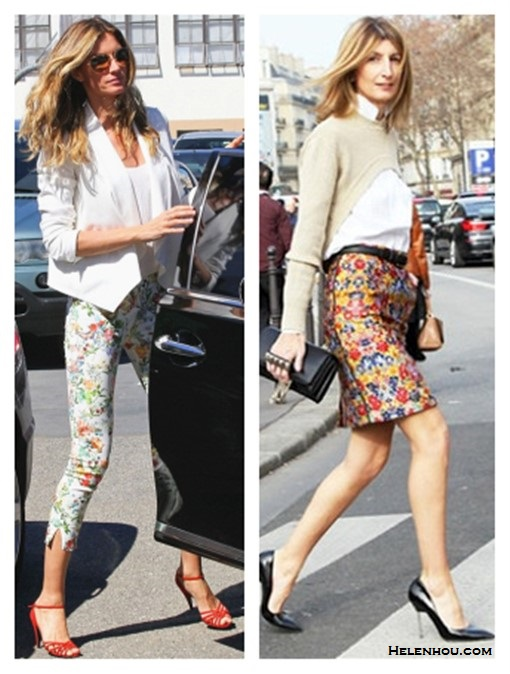 How to wear florals, spring outfit ideas 2014,    On Gisele Bundchen: white blazer, zara floral pants, Dolce & Gabbana red sandal, aviator sunglasses;   On Sarah Rutson: crop sweater, celine floral pencil skirt, black pump, Valentino studded clutch,