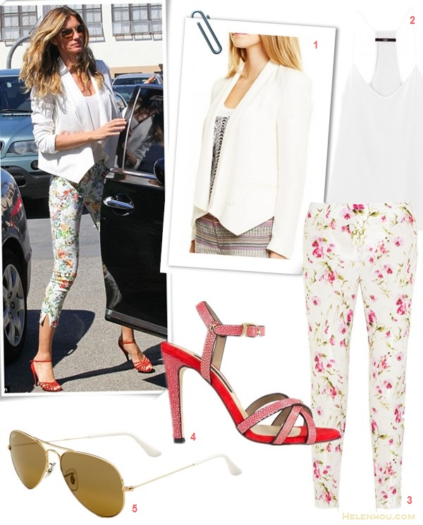 How to wear florals, spring outfit ideas 2014,  On Gisele Bundchen: white blazer, zara floral pants, Dolce & Gabbana red sandal, aviator sunglasses;    Featured:  1. Rebecca Minkoff Becky Jacket (also here; similar here)  2. Tibi signature silk cami (similar here)  3. RED Valentino Floral-print sateen-twill slim-fit pants (a subtle take of the floral trend here)  4. Chrissie Morris Tri-Strap Stingray Sandals (70% off; also love this pair)  5. Ray-Ban 'Original - Small Aviator' 55mm Sunglasses