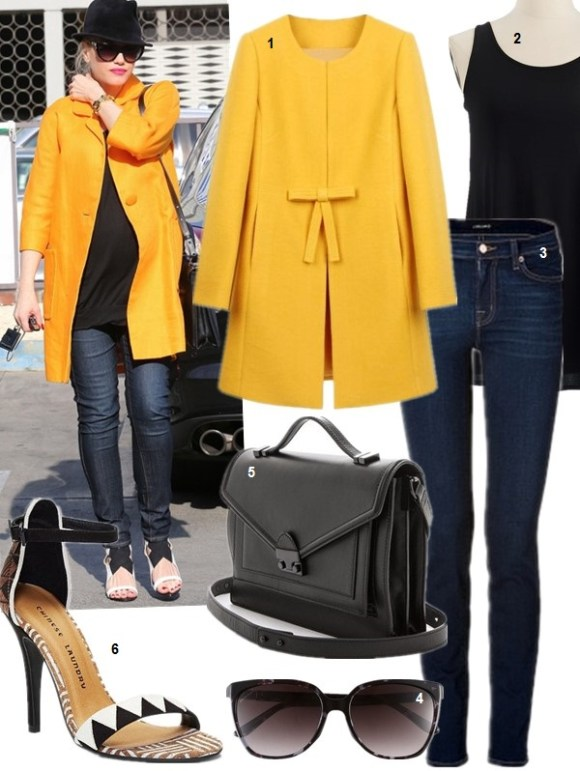 2014 spring coats; How to wear a bright coat; Celebrity Maternity Style,  On Gwen Stefani: orange coat, skinny jeans,heels, fedora, cat eye sunglasses.    Featured:  1. sheinside Yellow Bowknot Front H-line Simple Wool Blend Coat  2. Eileen Fisher Long Silk Tank (great layering piece that last for year! similar here)  3. J Brand '811' Skinny Stretch Jeans (materny style here)  4. Gucci 57mm Oversized Sunglasses (on here)  5. Loeffler Randall Rider Bag (lovely mini size here!)  6. Chinese Laundry La Paz Tribal Strap Sandal