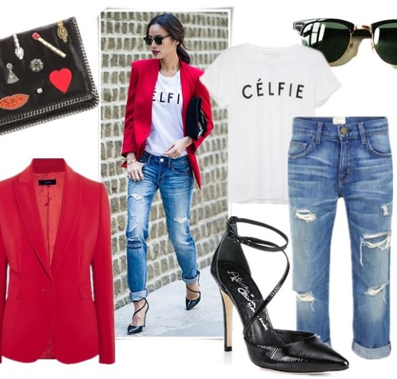how to wear a red blazer, how to wear wide leg pants,     On Jamie Chung: Ray-Ban Clubmaster Classic Sunglasses, Resse + Riley blazer, Sincerely Jules Celfie T, American Eagle jeans, Antik Batik clutch, Alice + Olivia Delia Patent Leather Heels,   From left to right:  Clutch: Stella McCartney Black Jewel Embellished Foldover Clutch (similar here)  Blazer: Joseph Earl crepe blazer (similar here & here)  Tee: Sincerely Jules Celfie T (love the chic and inspiring tees she designed! similar here)  Sunglasses: Ray-Ban sunglasses  Jeans: Current/Elliott The Boyfriend Jeans  Pump: alice + olivia Delia Pumps