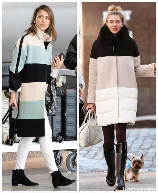 What to wear in the snow and cold weather,   On Jessica Alba: chloe striped colorblock coat, white skinny jeans, ankle boots, chloe perforated tote.  On Jessica Hart: colorbloked padded coat, prada tote.