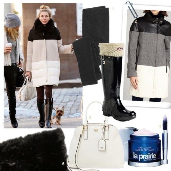 What to wear in the snow and cold weather,  On Jessica Hart: colorbloked padded coat, prada tote.  Featured:  1. Madewell knit leggings  2. WALTER Black Grey 'Trinity' Colorblock Rabbit Fur Collar Coat  3. Hunter 'Original Tall' Gloss Rain Boot, Cable Cuff Welly Socks & Instant Boot Shine Sponge  4. La Prairie 'Skin Caviar' Luxe Sleep Mask  5. Tory Burch Robinson Open Dome Satchel (on Jessica Hart here)  6. Jocelyn Rabbit Fur Infinity Scarf (or this one designed by beloved blogger Bryan Boy)