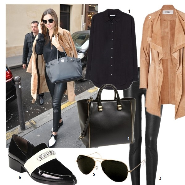 How to wear a camel coat, On Miranda Kerr: Helmut Lang leather pants, Prada aviator sunglasses, Equipment Hunter washed-silk tuxedo shirt, Hermes Birkin bag, Saint Laurent two tone flats;  1. Equipment Hunter washed-silk tuxedo shirt (also here; similar here)  2. STEFFEN SCHRAUT Suede Sahara Coat (great buy here & here)  3. Helmut Lang Stretch Leather Pants (great faux leather options here & here)  4. Rebecca Minkoff 'Mini Perry' Tote (Hermes Birkin on Miranda Kerr here)  5. Ray-BanRAY-BAN - 3025 ORIGINAL AVIATOR SIZE 58MM (GRAY/GREEN) - EYEWEAR  6. 3.1 Phillip Lim Jeweled Patent Leather Loafers (similar here; current obssesion here!)