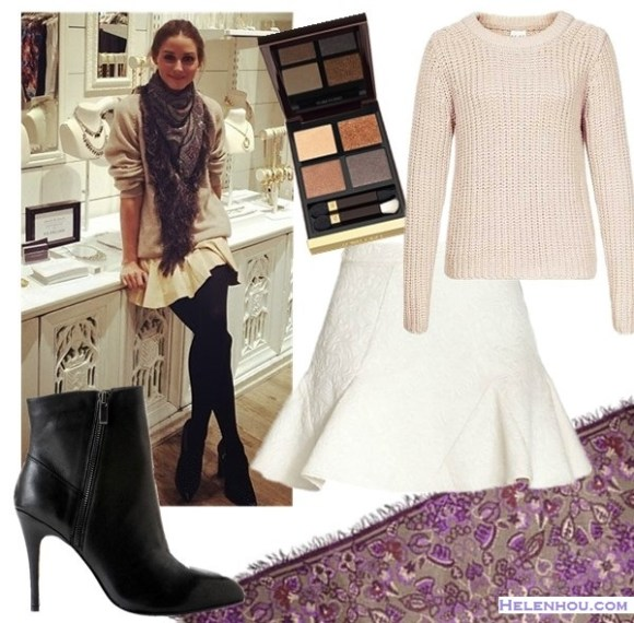 Olivia Palermo instagram style,  On Olivia Palermo: beige sweater, flared skirt, ankle boots, fringe scarf;    From left to right:  Kristin Cavallari Chinese Laundry Kristin Cavallari 'Caylin' Bootie  Tom Ford Eyeshadow Quad in Cognac Sable  Reiss CHUNKY KNIT JUMPER (similar here)  Line & Dot Flared Jacquard Skirt  Theodora & Callum Fringed Paisley Voile Scarf, Purple