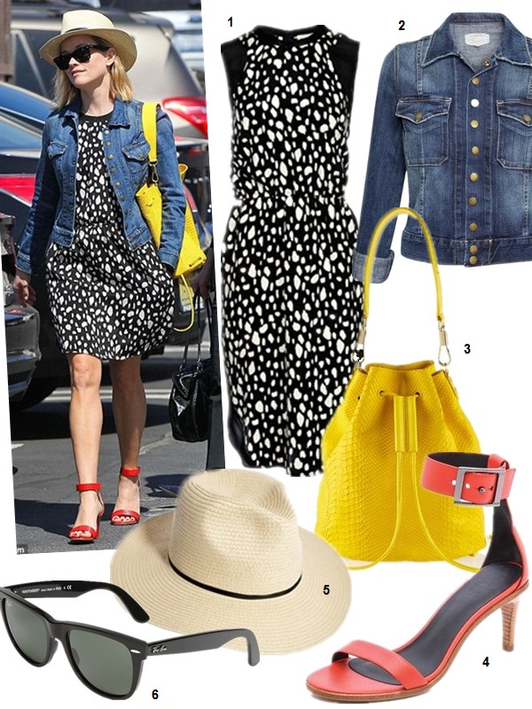 How to wear a denim jacket; The Spring 2014 Backpack trend,  On Reese Witherspoon (right):ELIZABETH AND JAMES Sling textured-leather backpack, STRAW FEDORA HAT, Ray-Ban Wayfarer Sunglasses, Sea black and white dot printed dress, red ankle strap sandals;   Featured:  1. Sea leo tank dress (also here; similar here & here) 2. Current Elliott The Snap denim Jacket (great alternative here) 3. Elizabeth and James Cynnie Mini Bucket Bag (similar here; adore this leopard version!) 4. Tibi Ivy Mid Heel Sandals (similar here & here) 5. ASOS STRAW FEDORA HAT WITH SKINNY BAND 6. Ray-Ban 'Classic Wayfarer XL' 54mm Sunglasses
