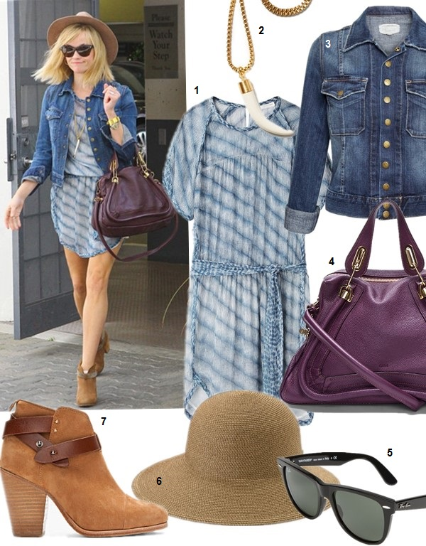 How to wear a denim jacket; The Spring 2014 Backpack trend,  On Reese Witherspoon (left): Isabel Marant Étoile Zaggy Stripey Chiffon Dress, Current Elliott The Snap denim Jacket , Chloe 'Medium Paraty' Leather Satchel , Ray-Ban Wayfarer Sunglasses, Rag & Bone Harrow Nubuck Ankle Boot, STRAW FEDORA HAT ;  Featured:  1. Isabel Marant Étoile Zaggy Stripey Chiffon Dress (similar here & here) 2. Kule KULE HORN PENDANT ON BOX CHAIN 3. Current Elliott The Snap denim Jacket (great alternative here) 4. Chloe 'Medium Paraty' Leather Satchel (similar here) 5. Ray-Ban 'Classic Wayfarer XL' 54mm Sunglasses 6. Eric Javits 'Squishee® IV' Wide Brim Hat (similar here) 7. Rag & Bone Harrow Nubuck Ankle Boot (similar here)