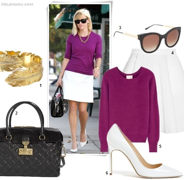 Cute Skirt And Sweater Street Style Combinations,   On Reese Witherspoon:  Anja Rubik at Vogue and Vanity Fair dinner in Céline suede coat, Repossi Berbère Pavé ring  featured:  1. Melinda Maria feather cuff (similar here)  2. MARC JACOBS 'Baroque - Rudi' Leather Satchel (great buy here)  3. Thierry Lasry Lively Sunglasses (similar here)  4. FAITH CONNEXION Flared matelassé skirt (great style 70% off here)  5. AMERICAN VINTAGE Nine Nile Falls angora-blend sweater (also love this)  6. Manolo Blahnik 'BB' pointy toe pump (under $100 here)