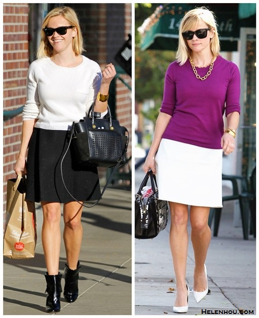 Cute Skirt And Sweater Street Style Combinations,   On Reese Witherspoon: Jenni Kayne sweate Theyskens' Theory Swick Skirt Reed Krakoff Bionic Mini Atlantique Bag Gianvito Rossi Patent Cuffed Ankle Boots XPOSUREPHOTOS    On Reese Witherspoon:  Anja Rubik at Vogue and Vanity Fair dinner in Céline suede coat, Repossi Berbère Pavé ring
