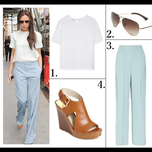 How to wear pastels;   Victoria Beckham London March 20 2014: wearing Chloe Buckle Strap Wedge Sandals, Chloe Wool Wide Leg Pants, Equipment Logan washed-silk top.   featured:  1. Equipment Logan washed-silk top (another great buy here)  2. Ray-Ban 59mm Semi Rimless Aviator Sunglasses  3. BY MALENE BIRGER Firoza stretch-crepe wide-leg pants  (on Victoria Beckham here; here; also here; similar here here   here  here   here)  4. MICHAEL Michael Kors 'Josephine' Wedge