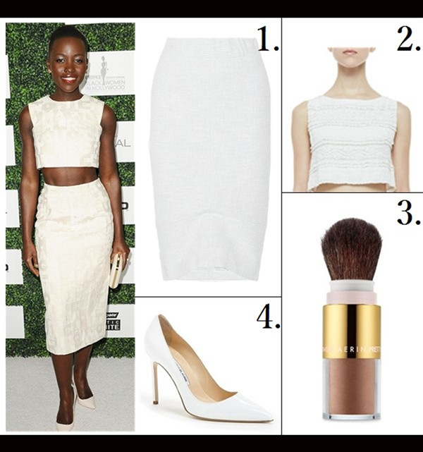 how to wear crop tops, how to wear head to toe white,    On Lupita Nyong'o:Giambattista Valli crop top and skirt, Sophia Webster pump, Elie Saab clutch, Neil Lane jewlery, Featured: 1. ZERO+MARIACORNEJO Isis tweed pencil skirt (similar here & here)  2. alice + olivia Cropped Lace Tank (similar here)  3. AERIN Beauty Pretty Bronze Portable Illuminating Powder, Sunshine  4. Manolo Blahnik 'BB' Pointy Toe Pump (under $100 here)