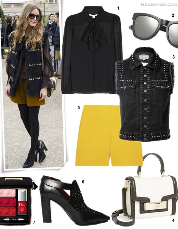 how to wear a leather skirt, how to wear a jumper,  On Olivia Palermo: Westward Leaning sungalsses, Chloe crossbody bag, Rebecca Minkoff Gio Too Studded Bootie Pump, black sheer blouse,   Featured:  1. Diane von  Furstenberg Jezebel Silk Chiffon Blouse (similar here)  2. Westward Leaning sunglasses  3. Current/Elliott Studded Denim Vest (similar here)  4. kate spade new york 'carroll park - mini penelope' crossbody bag  5. CHLOÉ High-rise stretch wool-blend shorts (similar here)  6. Rebecca Minkoff Gio Too Studded Bootie Pump (similar on sale here & here)  7. Dior (Beauty) 'Couture' Lip & Nail Palette (Limited Edition)