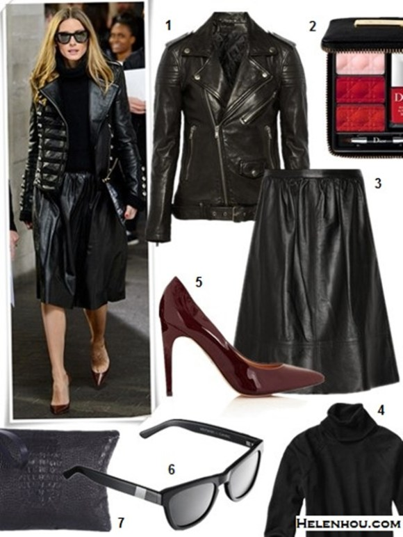 how to wear a leather skirt, how to wear a jumper,  On Olivia Palermo: at London Fashion Week, wearing Westward Leaning sunglasses, Boda leather jacket, Reiss skirt, Christian Louboutin heels, and a Whistles clutch.  Featured:  1. BLK DNM 8 leather biker jacket (also here; similar here)  2. Dior (Beauty) 'Couture' Lip & Nail Palette (Limited Edition)  3. Theory Gelsey Leather Skirt (also here; similar here)  4. Gap Eversoft turtleneck sweater  5. Topshop 'Glimmer' Pointed Toe Pump  6. Westward Leaning sunglasses  7. Asya MalbershteinBLACK ENVELOPE-CLUTCH
