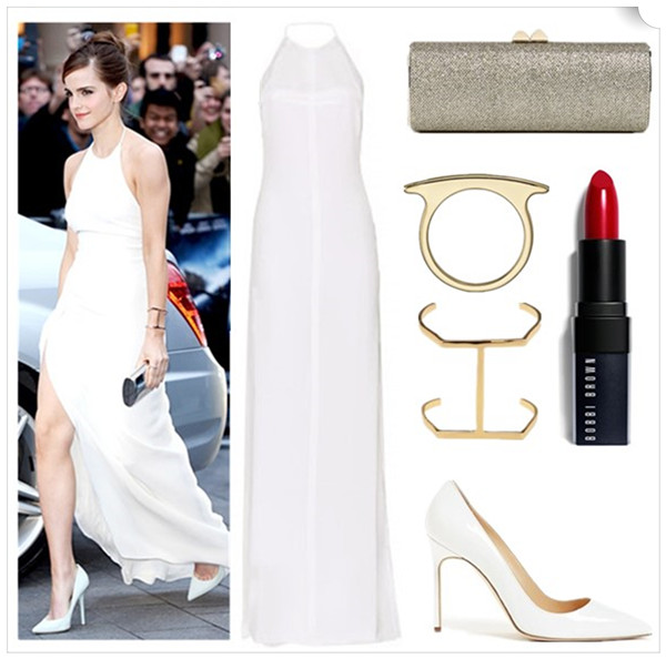 Emma Watson At the Noah premiere, London wearing Ralph Lauren Collection dress, Anita Ko earrings, Jennifer Fisher bracelets, Monica Vinader rings, Jennifer Meyer rings, Monique Péan ring, Jimmy Choo bag and shoes.   Featured:  Dress: Emilio Pucci FLOOR-LENGTH SILK GOWN WITH SHEER INSERTS (similar here & here)  Clutch: Jimmy Choo 'Charm' Lamé Glitter Clutch (similar here)  Ring: Monica Vinader Skinny Long rose gold-plated ring  Cuff: JENNIFER FISHER Single Bar Cuff (an iconic piece favored by celebrities; $48 here)  Lip color: Bobbi Brown Rich Lip Color in old hollywood  Shoe: Manolo Blahnik 'BB' Pointy Toe Pump (similar here & here)