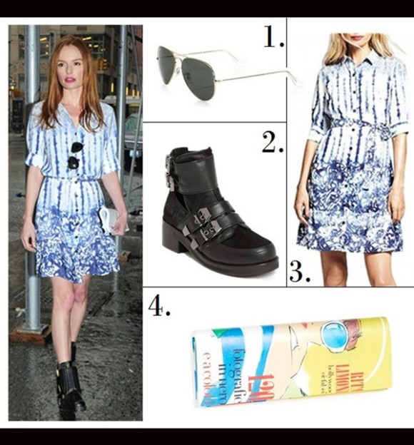music festival outfit ideas 1. Ray-Ban 'Original Aviator' 58mm Sunglasses (on sale!) 2. KG Kurt Geiger 'Trunk' Bootie (investment-worthy here!) 3. Peter Som For Kohl's Tie-Dye Shirtdress 4. Kate Spade New York Vivi Bella Magazine Clutch (similar design here)