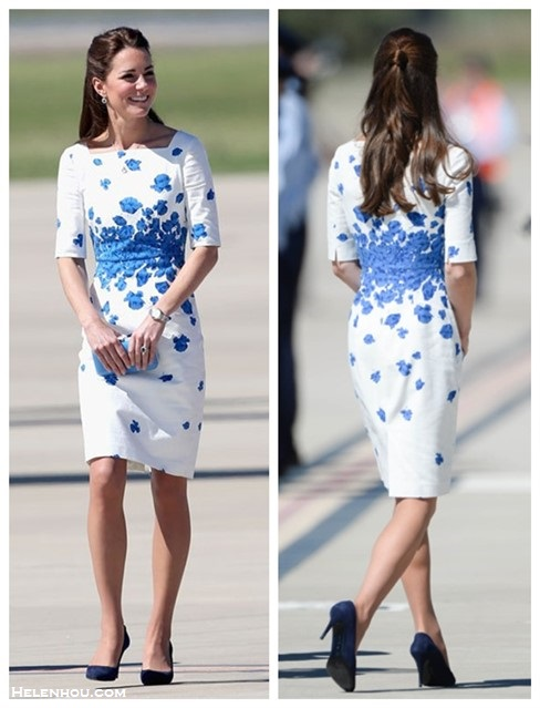 Helenhou.com-Kate Middleton at australian on Drop Pendant Necklace, Cartier Watch, L.K. Bennett white and blue Floral Occasion Dress, blue Clutch,suede pumps
