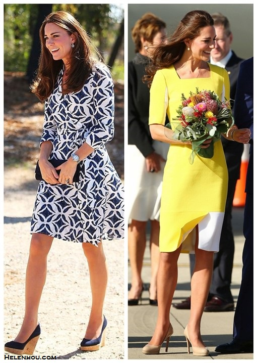 Helenhou.com-Kate Middleton wearing Cartier Watch,lkbennett Sledge nude pump, dvf printed dress, Roksanda Ilincic yellow dress, Stuart Weitzman  wedge and clutch