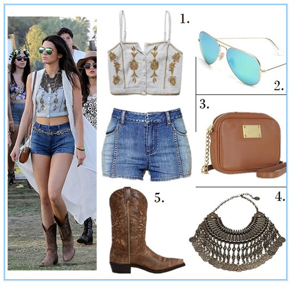 Helenhou.com-Kendall Jenner at Coachella wearing Free People embroidered crop top, denim shorts, and Coin necklace, Michael Kors brown bag, Dingo cowboy boots